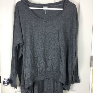 Bobi Grey Hooded Long Sleeve Top